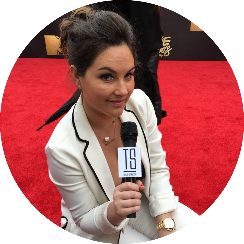 Taylor Strecker, talk show host on DNR Studios, interviewing celebrities on the red carpet.