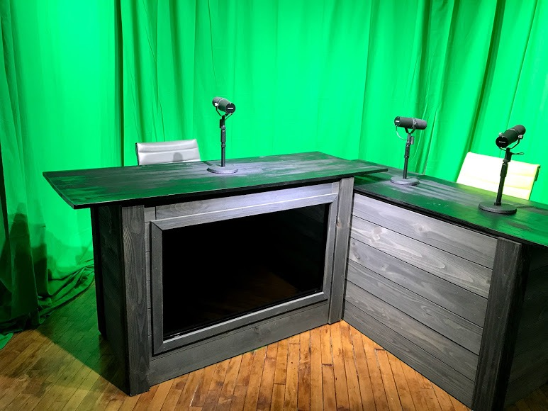 Studio B, the video production room for podcasts and shows at DNR Studios.
